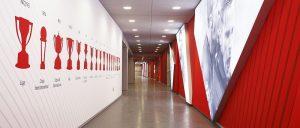 Le passage par le tunnel des joueurs au Stade Estadio Metropolitano de Madrid