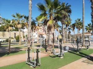 Les gymnases sur la plage Malaga
