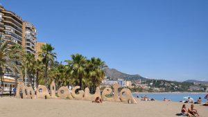 La plage de Malagueta à Malaga